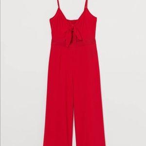 H&M Red Flowy Jumpsuit